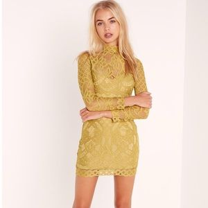 Missguided chartreuse green dress